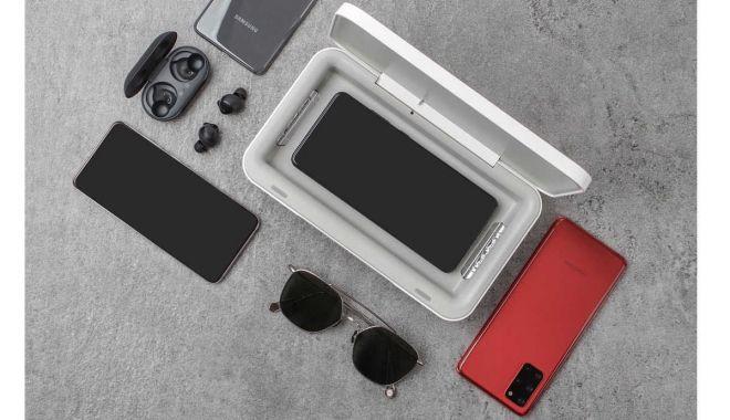 Foto: Samsung propune un dispozitiv care îți încarcă și curăță telefonul cu ultraviolete