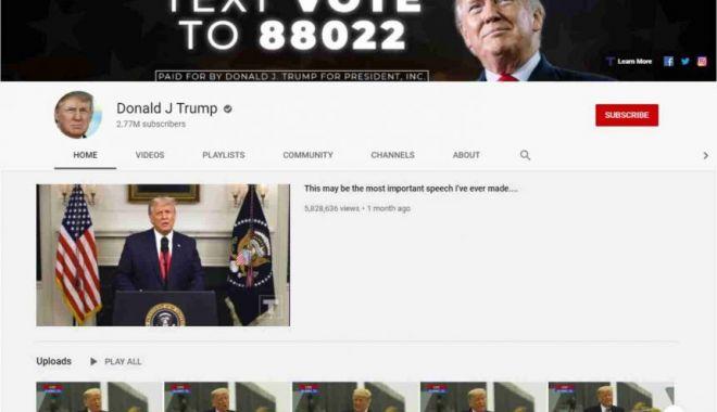 YouTube a blocat canalul lui Donald Trump pentru cel puţin 7 zile - trump-1610524888.jpg