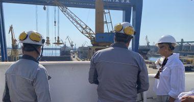 GALERIE FOTO. Ministrul Muncii şi Protecţiei Sociale, Raluca Turcan, în vizită la Şantierul Naval Constanţa